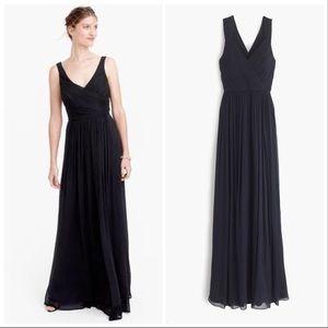 J. Crew | Anabel Long Dress in Black Silk Chiffon